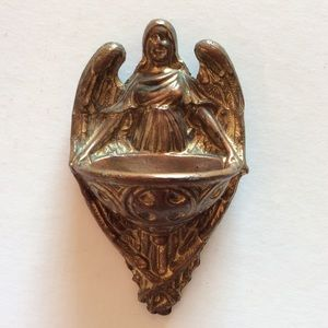Vintage Holy Water Font Brass Coated Angel